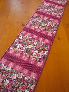 """Handmade Quilted Table Runner Pink and Purple Flowers Stripe 12"""" x 57"""" $48"""