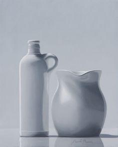 HENK BOON Beeldend kunstenaar : Compositie witte kruik en kan, Olieverf/paneel, 20 X 16 cm