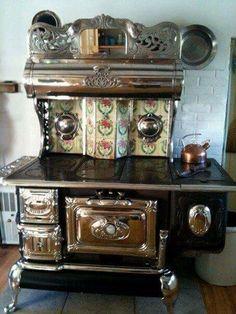 Antique Kitchen Ovens Antique Kitchen Stoves Antique Kitchen Stoves Price Steampunk Cast Iron Wood Burning Kitchen Range With Vintage Tile Antique Kitchen Stoves, Antique Wood Stove, Old Kitchen, How To Antique Wood, Vintage Kitchen, Kitchen Decor, Kitchen Tiles, Vintage Appliances, Kitchen Appliances