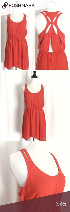 UO Silence + Noise Orange Cut Out Back Dress Small A beautiful Urban Outfitters dress by Silence + Noise. Unique cut out design on back, elasticized waist, and tulip hem at front. Pristine like new condition. Size small. silence + noise Dresses