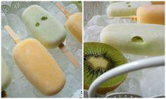 Eis mit Kiwi und Pfirsich