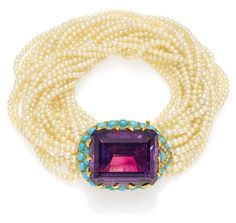 CARTIER . Amethyst Turquoise Bracelet France to 1950. 750 / - rose gold, Hallmark, total weight: 73,2g. L.ca. 19,2cm. 53 diamonds together ca. 0,6ct, 1 faceted Amethyst about 62, 0ct, 46 Turquoise pearl / triangle. Signed Cartier Paris and numbered. Three-Zuchtperl torn strands.