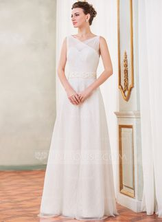 A-Line/Princess V-neck Floor-Length Tulle Charmeuse Lace Wedding Dress With Ruffle Beading Sequins Bow(s) (002042406)