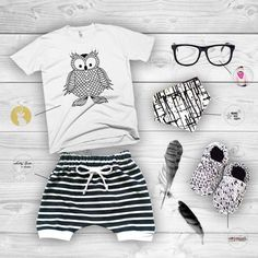 Wise Owl #flatlay  Baby Opticals by Mustachifier Shorties by Salty Kids & Babes Bibdana by Mama Sew Happy Shoes by G R E Y S O N A N D C O L E Shirt by Kensley Kids