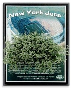 $29.99 - NFL Jets Meadowlands Game-Used Turf Plaque - Get a piece of historic turf from The Meadowlands's final season, a place that saw so many Jets victories including 2 AFC East Titles. The plaque includes an aerial view and a brief background of this incredible building.