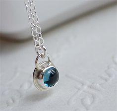 """Pebble"" London Blue Topaz & Sterling Silver Necklace"