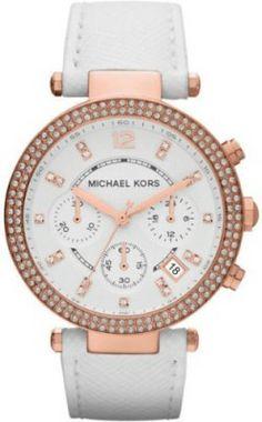 Relógio Michael Kors Parker Chronograph Rose Gold-tone White Leather Ladies Watch MK2281 #Relogios #MichaelKors