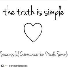 "#Repost @connectionpoint  One of my favourite sayings. The truth is always simple if you subtract ""the committee in your head"" lol and you really listen and understand your own values needs and principles. This is very important to be able to do in any relationship personally or professionally. ""Know thine self"" first... More and more I've realised that people use the phrase ""communication is key in relationships"" but don't really know what that entails. It more accurately means that both…"