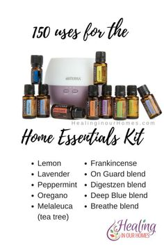 Learn 150 uses for doTerra's Home Essentials Kit one of the starter kits with a diffuser and the top 10 most used and popular essential oils by doTERRA. Top Essential Oils, Essential Oil Diffuser Blends, Young Living Essential Oils, Home Essentials Kit Doterra, Nars Cosmetics, Doterra Oils, Doterra Blog, Doterra Products, Doterra Recipes
