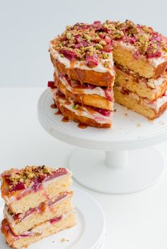 Rhubarb, Pistachio and Salted Caramel Layer Cake #vegetarian #dessert #cake
