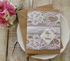 Rustic Wedding Invitation Suite, Rustic Wedding, Printed invitation Set, Lace Wedding Invitation, Rustic Invitation, Elegant Assembled