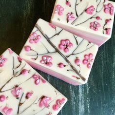 Cherry Blossom Soap scented with cherry blossom fragrance oil from Bramble Berry🌸🌸Happy Spring everyone! Patchouli Soap, Whipped Soap, Homemade Soap Recipes, Soap Packaging, Bramble, Cold Process Soap, Home Made Soap, Handmade Soaps, Soap Making