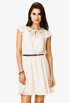 Embroidered Dress w/ Skinny Belt