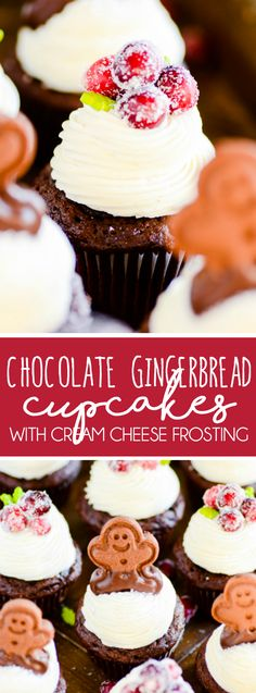 Chocolate Gingerbread Cupcakes with Cream Cheese Frosting