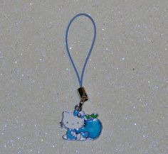 "ADORABLE LITTLE CAT CELL PHONE CHARM-BLUE-WHITE-GREEN-3 1/4"" LONG-PLUS FREE GIFT-$3.99 