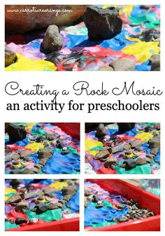 A simple, lovely activity: creating a rock mosaic using clay and rocks. This activity is about the process, not the end result. That is the best part!