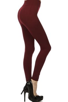 All American Woman Leggings - When it gets cool outside, pull on these comfy fleece brush leggings this fall and wear them all day long! With a seamless design, these are everyone's favorite pants.  Practical enough for weekend errands, playing sports, lounging in and even going out in when you pair them with some great shoes and a sexy top! Available in Burgundy, Black, Brown and Navy. 92% Polyester and 8% Spandex. One Size Fits All (Small/Medium)