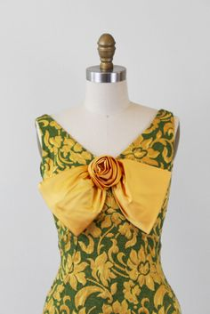 #Baylor vintage 1960s dress! // Green and Yellow Floral Damask Cocktail Dress with Bow