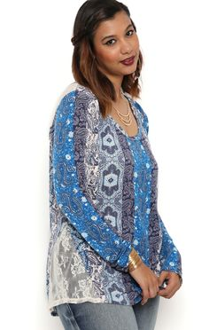 Deb Shops Plus Size Long Sleeve Paisley Print Top with Lace Hem Inserts $12.00