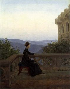 Woman on the Balcony, Carl Gustav Carus. German Romantic Painter (1789 - 1869)