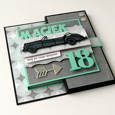 18th Birthday Cards, Scrapbook Cards, Scrapbooking, Masculine Cards, Bows, Frame, How To Make, Handmade, Diy