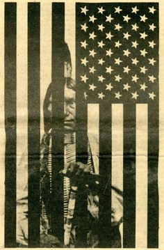 Art. Native jailed by us flag.