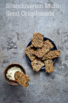 Scandinavian seeded crispbreads made with minimal flour some salt oil water and sesame flax poppy and sunflower seeds and a few aromatic ones too are a crunchy delicate platform for butter Healthy Crackers, Homemade Crackers, Savory Snacks, Vegan Snacks, Healthy Snacks, Snack Recipes, Cooking Recipes, Whole Food Recipes, Healthy Fats