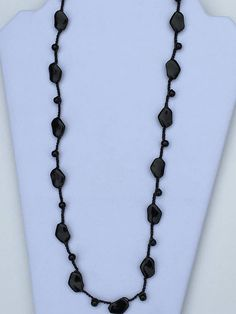 Black Glass crocheted necklace