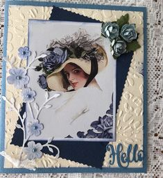 For my first card I have embossed some cream card as well as my matting,some paper roses and a MG Diecut I love this image,so I a. Paper Roses, Shades Of Green, Welcome, I Card, Garden Design, Image, Landscape Designs, Yard Design