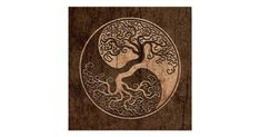 This unique yin yang features a twisted tree growing from the center of the design. The intricate branches that extend into the top of the tear drop pattern are a mirror image of the roots that hang below. Rough textures and natural colors gives the pattern the look of being carved out of aged wood. This stunning tree of life design is a beautiful representation of the balance of nature.