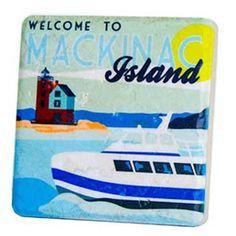 Mackinac Island Ferry Travel Poster Coaster