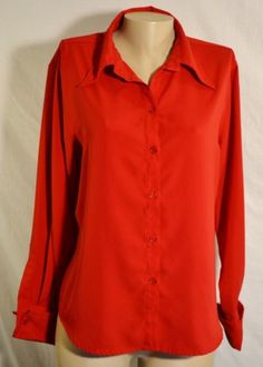 APPARENZA-Red-Shirt-Blouse-Large-Long-Sleeves-Unlined-Machine-Wash-And-Dry