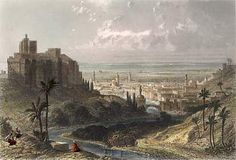 Medieval Tripoli, shows castle overlooking Mediterranean Sea.