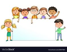 Funny kids holding blank banner for your text Vector Image Adobe Illustrator, School Border, Powerpoint Background Design, Boarder Designs, Preschool Decor, Blank Banner, Kids Background, School Frame, School Murals