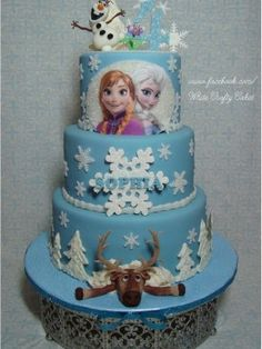 elsa frozen cake | Disney Frozen cake. Modeling chocolate characters on top tier, Sven ...