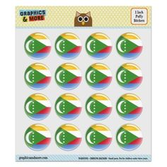 The Comoros National Country Flag Puffy Bubble Dome Scrapbooking Crafting Stickers - Set of 16 - 1.0' (25mm) Diameter Each