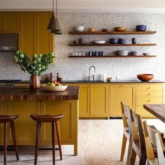 All low India yellow cupboards matched with all white floor to ceiling utility/ . - All low India yellow cupboards matched with all white floor to ceiling utility/ storage on op wall? Kitchen Inspirations, Home Decor Kitchen, Classic Kitchens, Yellow Kitchen Cabinets, Beautiful Kitchens, Home Kitchens, Kitchen Design, Kitchen Remodel, Kitchen Renovation