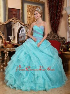 turquoise blue quinceanera | Sweetheart Ruffle Skirt Quinceanera Gown Dress In Turquoise Blue