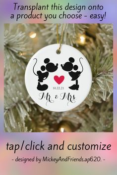 Mickey & Minnie Wedding   Silhouette Ceramic Ornament - tap to personalize and get yours #CeramicOrnament #disney #mickey #and #friends, #zname,