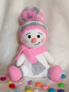 Baby Knitting Patterns Christmas Snowman worked in pink, gray and white. Baby Knitting Patterns, Crochet Animal Patterns, Crochet Patterns Amigurumi, Crochet Dolls, Crochet Baby, Knit Crochet, Crochet Rope, Crochet Snowman, Christmas Crochet Patterns
