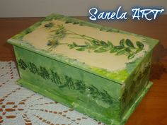 spring green decoupage wooden box with lid