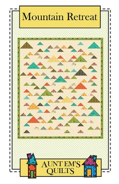 Great for a child's quilt. Perfect as a boy quilt especially if he loves the outdoors. A simple patchwork quilt using triangles set on point. A good beginner quilt pattern. Throw quilt: 54 x yard yard border and yard cuts for mountains Scrap Quilt Patterns, Beginner Quilt Patterns, Quilting For Beginners, Quilt Tutorials, Quilting Projects, Quilting Designs, Quilting Ideas, Sewing Projects, Quilt Design