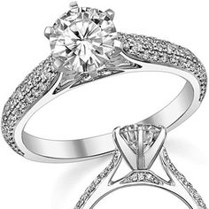 Moissanite & Diamond Pave Cathedral Ring  Model No: eng975b