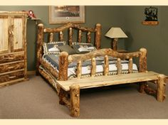 Aspen Log Klondike Bed from Southern Creek Rustic Furnishings. Nothing screams rustic and cabin more than aspen log beds. It's sure to be a unique piece with each log carefully selected to fit the design.