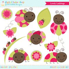 Lovely Ladybugs Clip Art - cute little lady bugs perfect for spring projects, stickers, stationery and more.