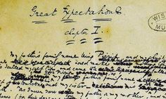 Charles Dickens' manuscript of Great Expectations. The verb 'to hang out' appears in the novelist's work. Photograph: Cambridge University P...
