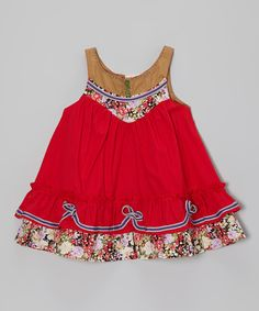 Silly Sissy Red & Brown Floral Dress - Infant, Toddler & Girls by the Silly Sissy #zulily #ad *cute