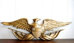 Vintage gold cast metal eagle wall hanging (48.00 USD) by highstreetmarket