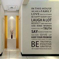 English Proverbs Wall Sticker Family House Rules Wall Stickers Decal DIY Decor Home Kids Great Gift Wallpapers