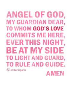 Pink and Rose Red GUARDIAN ANGEL PRAYER by enduringarts on Etsy, $15.00